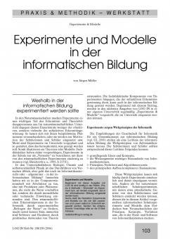 Experimente und Modelle in der informatischen Bildung