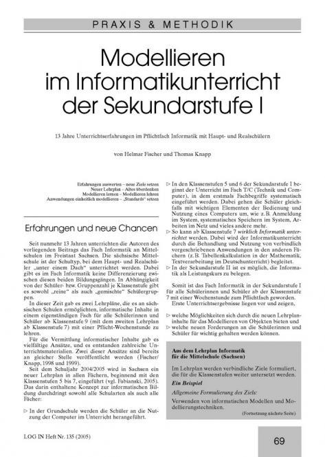 Modellieren im Informatikunterricht der Sekundarstufe I