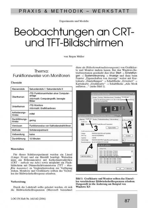 Beobachtungen an CRT- und TFT-Bildschirmen