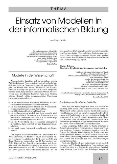 Einsatz von Modellen in der informatischen Bildung