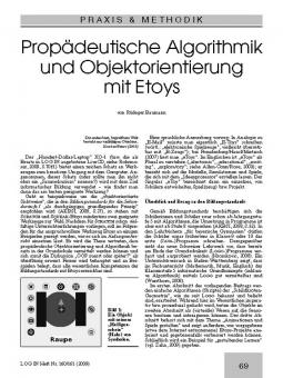 Propädeutische Algorithmik und Objektorientierung mit Etoys