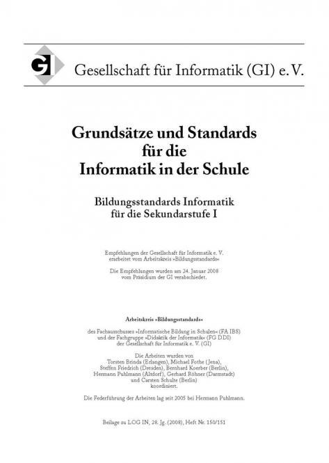 Grundsätze und Standards für die Informatik in der Schule