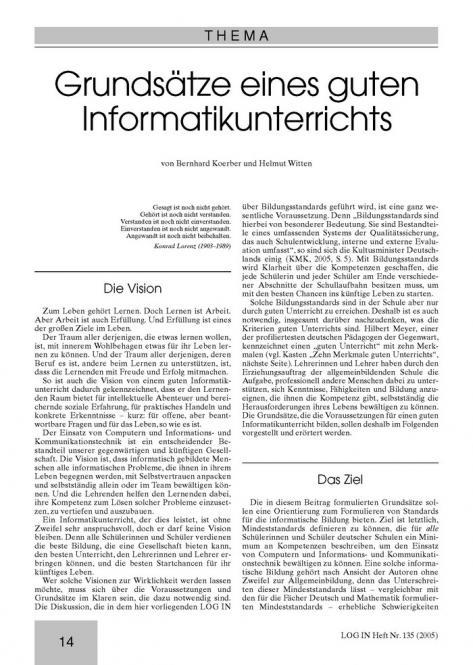Grundsätze eines guten Informatikunterrichts
