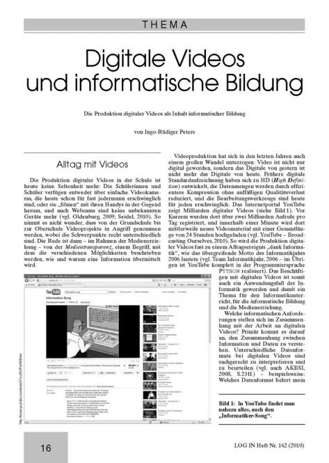 Digitale Videos und informatische Bildung